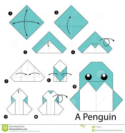 comment faire un origami 233 par 233 comment faire 224 origami un pingouin illustration de vecteur image