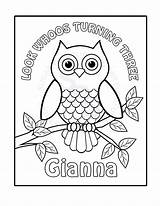 Owl Coloring Pages Birthday Printable Personalized Owls Colouring Sheets Custom Drawing Pdf Harry Potter Activity Cards Adults Childrens Horned Animal sketch template