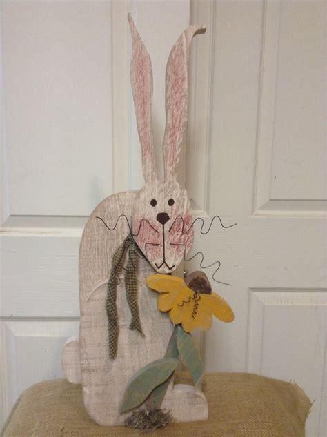 Primitive Decor Country Wood Bunny Lnmprimitives