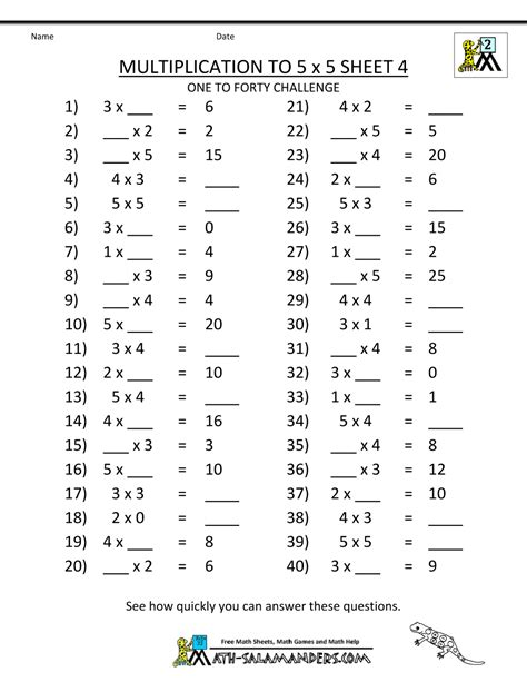 multiplication review worksheets grade  times tables