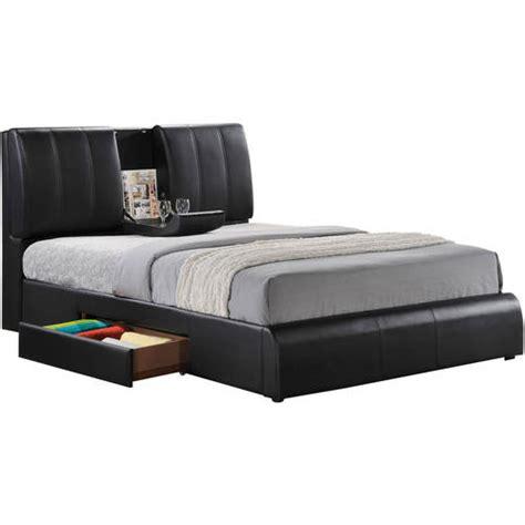 7293 king size storage bed acme kofi bed with storage black pu walmart