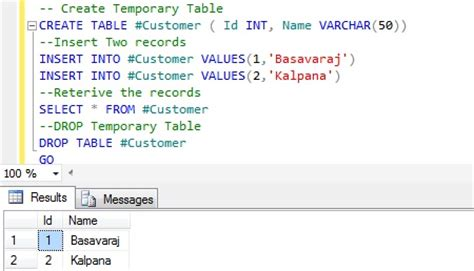 how to use temp table in sql server comparative analysis of temporary table and table variable
