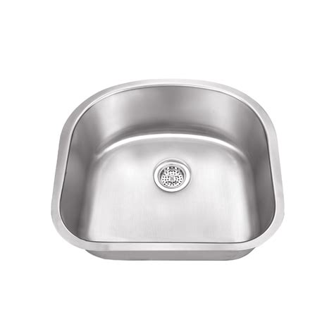 single bowl stainless kitchen sink dusb 2321 18bs designer undermount 23 quot d shape single bowl 7957