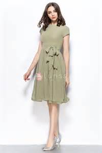 bridesmaid dresses dusty vintage dusty olive chiffon sleeve knee length bridesmaid homgecoming dress lunss couture