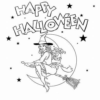 Halloween Witch Drawing Coloring Printable Simple Flying