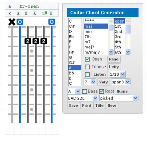 gootar guitar chord generator  scale finder programs