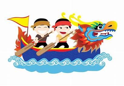 Dragon Boat Vector Festival Clipart Racing Water