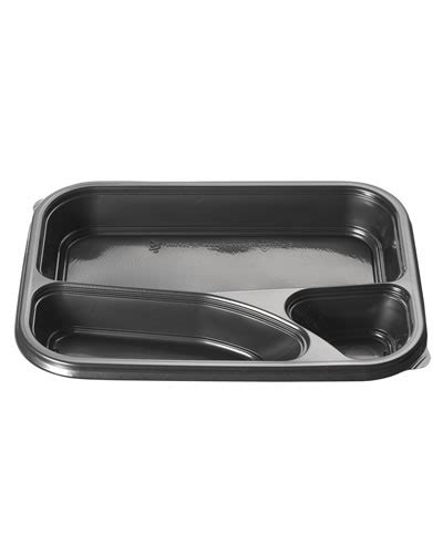 PP rectangular microwavable container 3 compartments 695ml