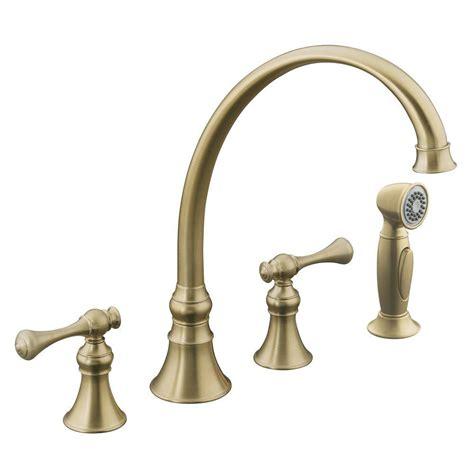 kohler revival kitchen faucet kohler revival traditional 2 handle standard kitchen faucet in vibrant brushed bronze k 16109 4a