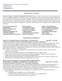 resume for construction assistant superintendent construction assistant superintendent resume sales