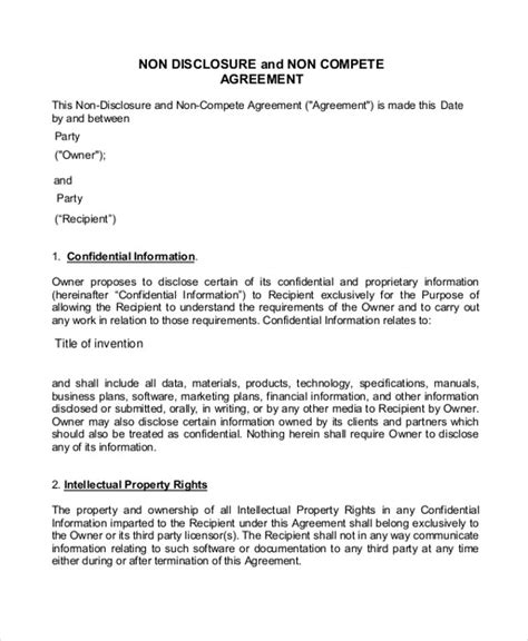 compete agreement   word  documents