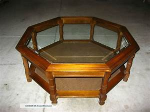 Vintage danish modern octagon glass coffee table cane mid for Octagon glass coffee table