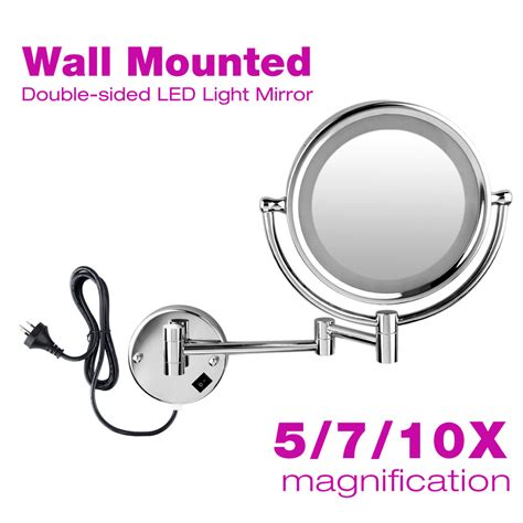 led light 2 sided bathroom make up mirror wall mounted 10x