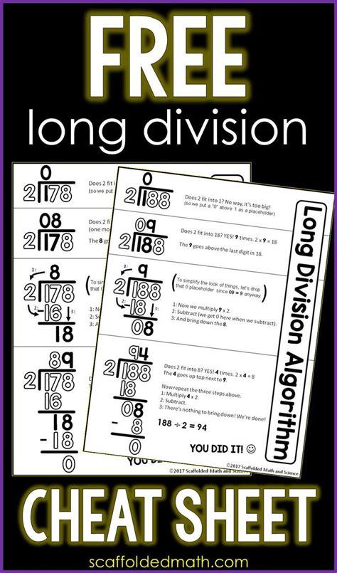 long division cheat sheet    images math