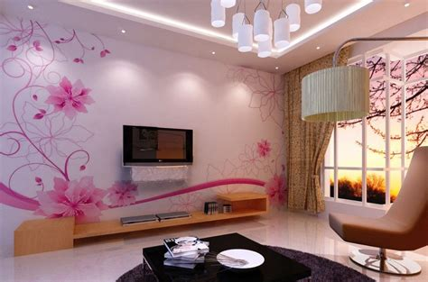 wallpaper dinding ruang tamu motif bunga desain gambar