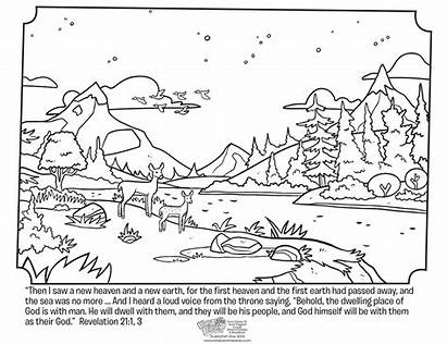 Coloring Revelation Heaven Pages Sunday Bible Earth