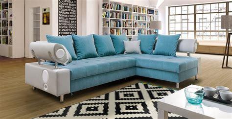 Canapé D'angle Convertible Imperia Bleu Et Gris