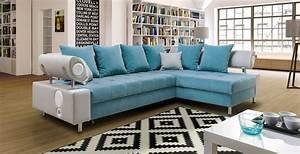 Canapé D Angle Gris : canap d 39 angle convertible imperia bleu et gris lecoindumeuble ~ Teatrodelosmanantiales.com Idées de Décoration