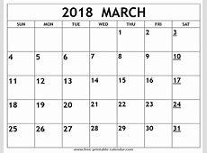Printable 2018 March Calendar