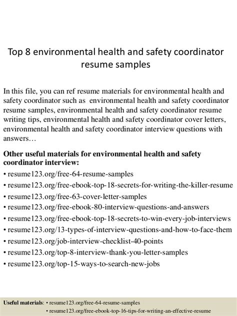 Resume Health And Safety by Top 8 Environmental Health And Safety Coordinator Resume Sles