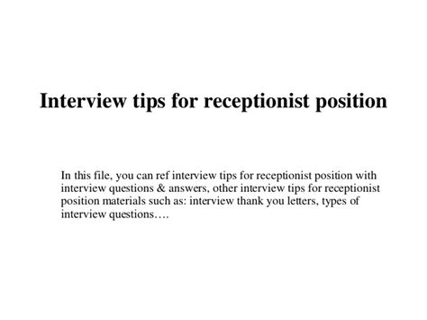 interview tips for receptionist position