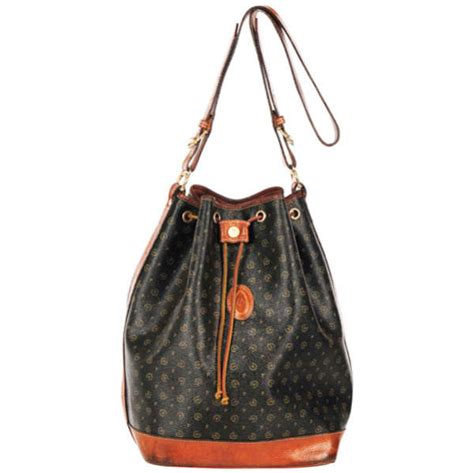 pollini vintage monogram drawstring shoulder bag