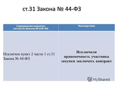 фз 44 последствия не исполнения контракта в полном объеме и сроки