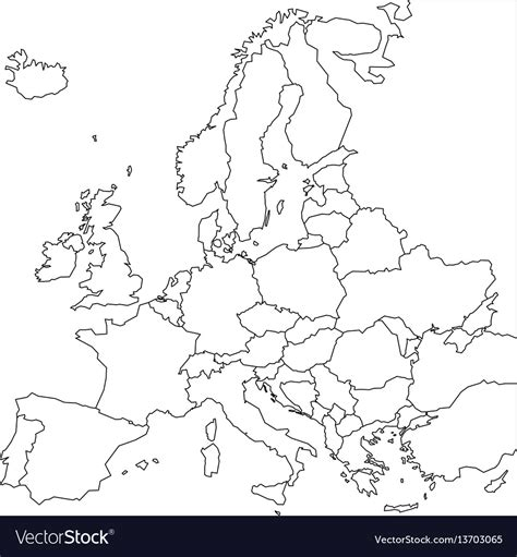 blank outline map  europe simplified wireframe vector image