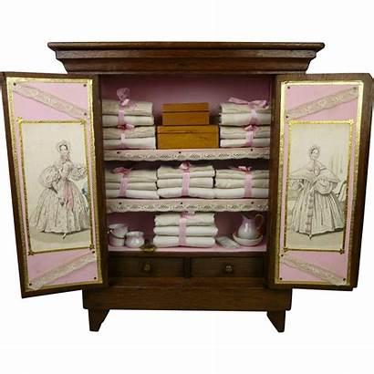 Antique Oak Hard Linen Armoire Cabinet French