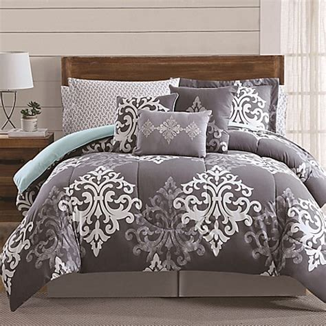 buy 12 piece textured damask comforter set in grey teal