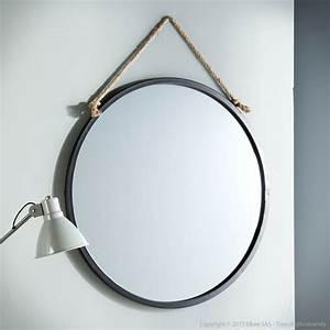 Miroir Rond à Suspendre : miroir mural rond en m tal noir suspendu par une corde d ~ Teatrodelosmanantiales.com Idées de Décoration