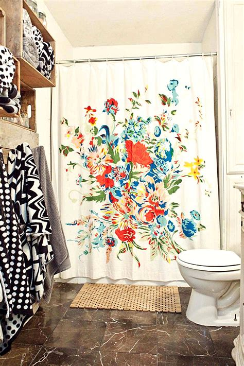shower curtain flowers 5 easy bathroom makeover ideas