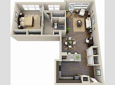 50 Plans en 3D d'appartement avec 1 chambres