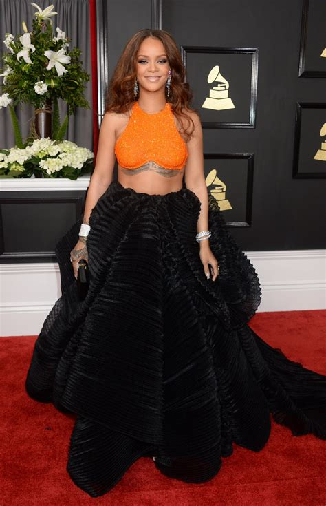 Rihanna On Red Carpet  Grammy Awards In Los Angeles 212
