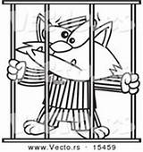 Coloring Prisoner Jail Outline Cartoon Cat Clipart Jailed Vector Bars Royalty Illustrations Designs Vecto Rs sketch template