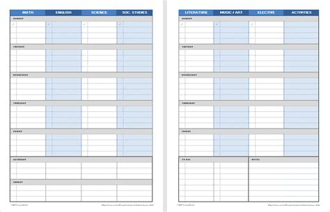 student planner printable weekly student planners