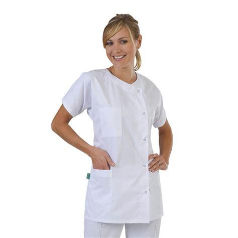 tenue de travail femme de chambre blouse medicale classique femme tissu serge blanc