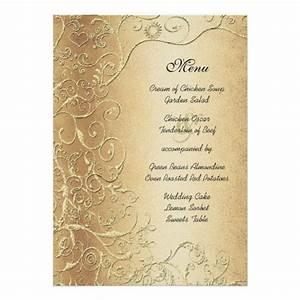 elegant gold swirls black font wedding menu card zazzle With wedding invitations gold font