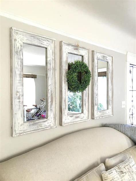 wood frame farmhouse set   mirrors distressed rustic farmhouse decor living room