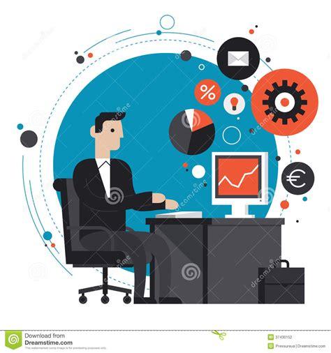 affaires de bureau homme d 39 affaires dans l 39 illustration plate de bureau