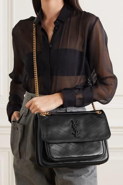 saint laurent niki ysl monogram medium  black lambskin leather shoulder bag tradesy