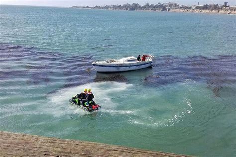 Boat Anchor Fails by Sailboat Towed Away From Goleta Pier After Anchor Fails To