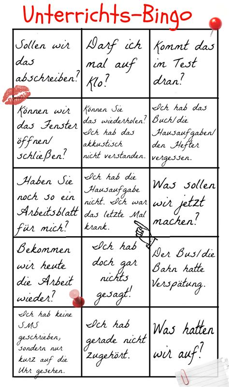 Unterrichts-Bingo