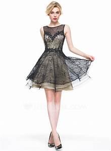Robe princesse col rond longueur genou dentelle robe de for Robe longueur genou