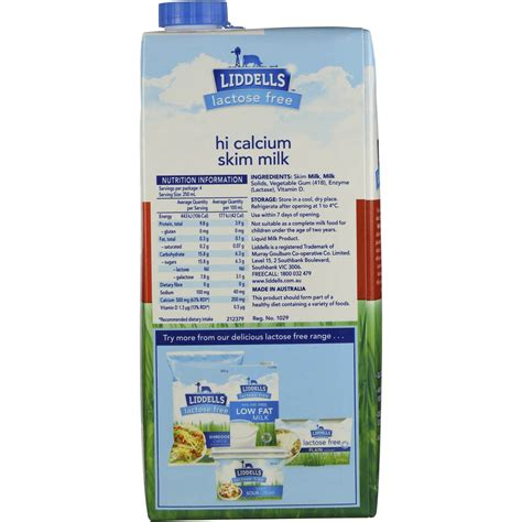 Liddells High Calcium Skim Milk Lactose Free 1l Woolworths