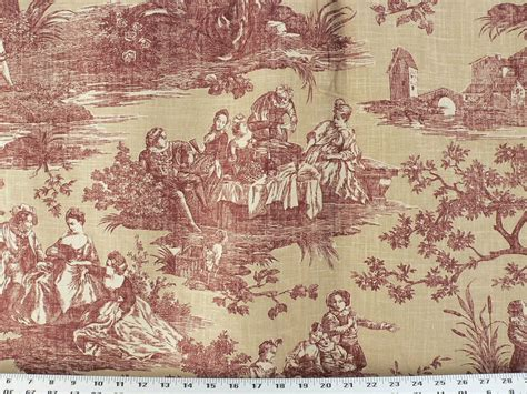 Toile Drapery Fabric - drapery upholstery fabric blended cotton linen look toile