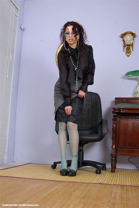 Trinity Nylons Shiny Tight Bursting Blouses Garters Heels
