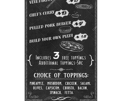 Snack Bar Menu Template by Retro Chalkboard Food Menu Template Pizza Snack Bar