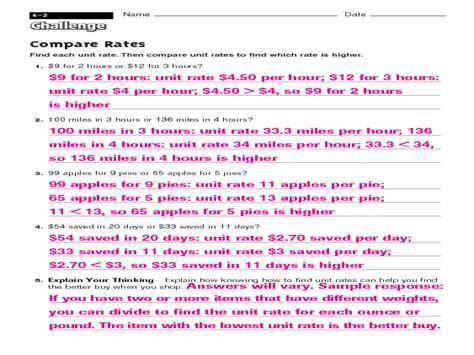 comparing rates worksheet 7th grade math unit rate worksheets 6th grade math