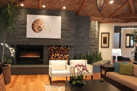 contemporary natural stone fireplace modern living